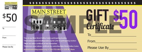 MSVC gift certificates
